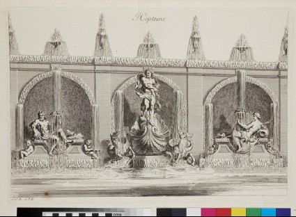 Design for a wall fountain with Neptune, from the series 'Recueil de fontaines et de frises maritimes'
