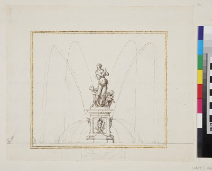 Design for a statue with a deity and two putti