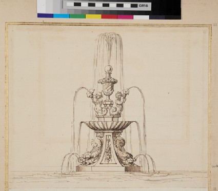 Design for a fountain, with two putti holding a horn and two maritime creatures
