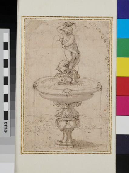 Design for an ornamental fountain showing a marine deity with a fish