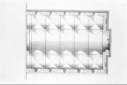 Design of the plan of the vaults of the ceiling of an assembly hall