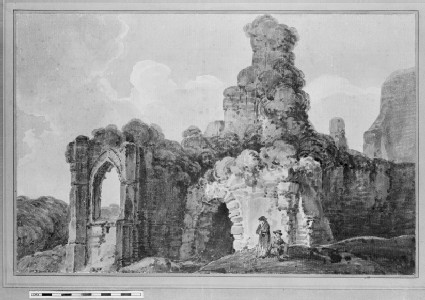Figures by a ruined Abbey