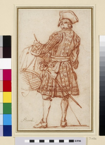 Recto: A drummer seen from behind<br />Verso: A Turkish horseman in profile to right