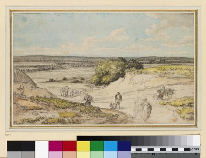 Recto: A view downhill, along a country road<br />Verso: A broad, cobbled street with horses, donkeys and pedestrians