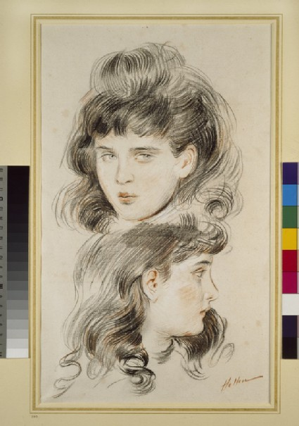 Two studies of a girl's head