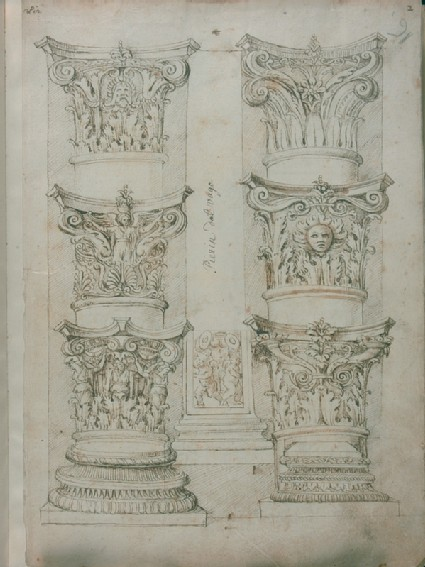 Folio 1, recto: six capitals, a pilaster and two column bases 