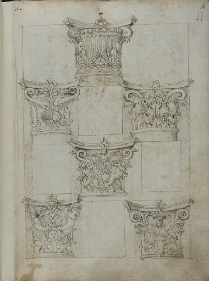 Folio 2A, recto: six capitals and four empty panels <br />Verso: six capitals and six decorative panels with grotesques
