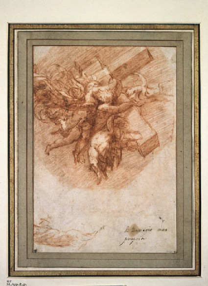 Recto: The Cross borne to Heaven by Angels