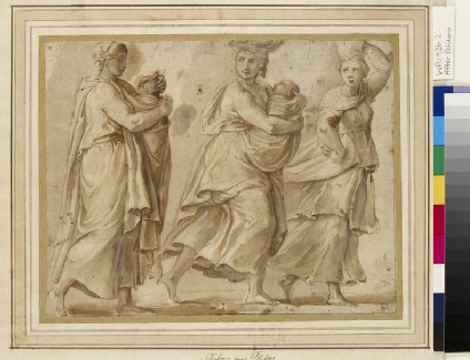 Three Women hurrying to right