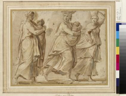 Three Women hurrying to right