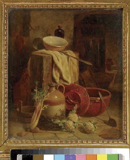 Still Life of Kitchen Utensils and Vegetables