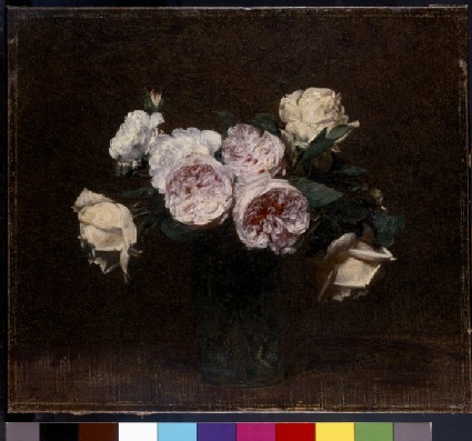 Still Life of Pink, White and Yellow Roses