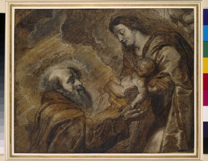 St Francis kneeling before the Virgin and Child