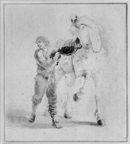 A Man leading a Horse