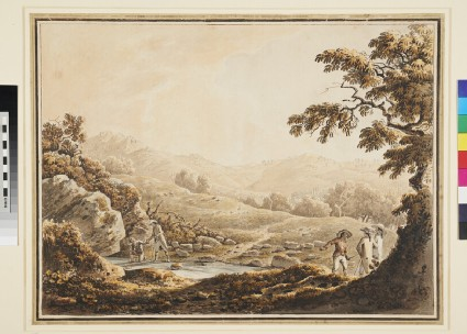 Hilly Landscape with Tourists