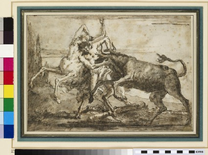 A Bull attacking a Satyr and a Centaur