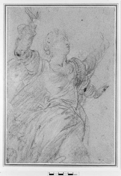 Study of a female figure with her arms raised