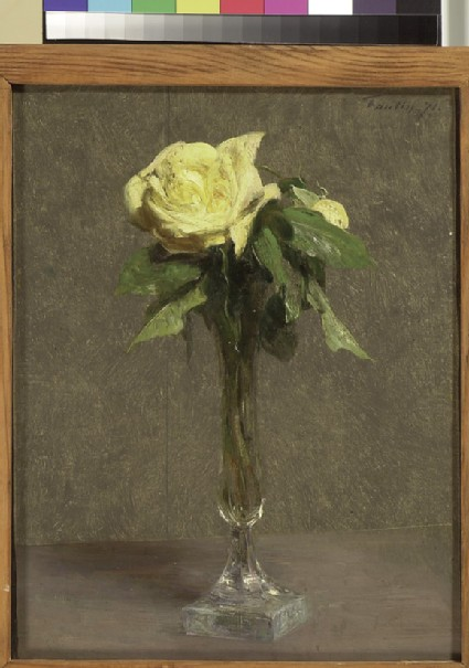 Two Yellow Roses in a glass bud vase