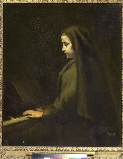 A Woman seated at the piano