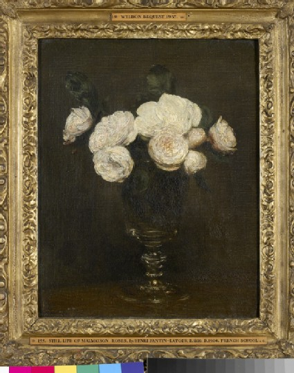 Still Life of White Roses in a Glass Goblet