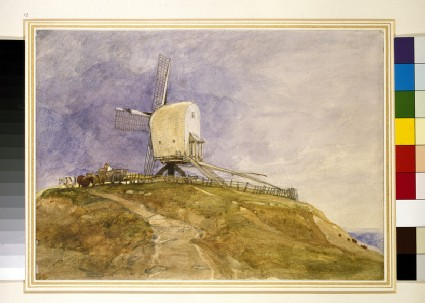 A windmill on a hill, possibly at Eye in Suffolk