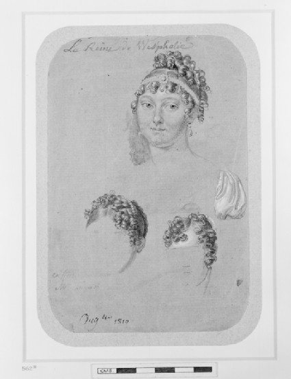 Three studies for portraits of Catherine of Wurttemberg, queen of Westphalia, Pauline Borghese, and an unidentified woman