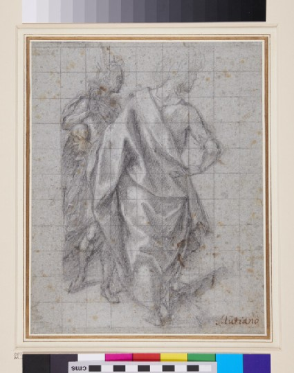Recto: A study of two figures for an Adoration of the Magi<br />Verso: A crucifixion and a figure study