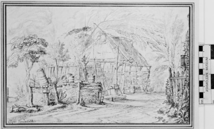 A Farmyard with a Shed and a Well
