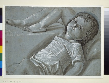Recto: Study for a recumbent Figure of the Infant Christ<br />Verso: Study of a female Martyr holding a Palm Branch, and a Study of the Head of a female Martyr