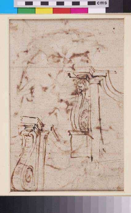 Recto: Naaman before Elisha (2 Kings v)<br />Verso: Two architectural Studies
