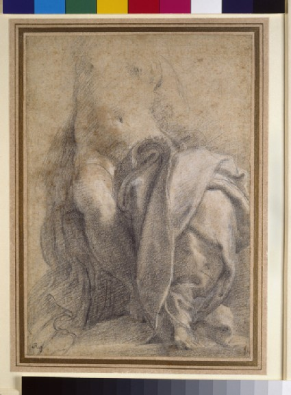 Recto: Seated semi-nude female wearing drapery