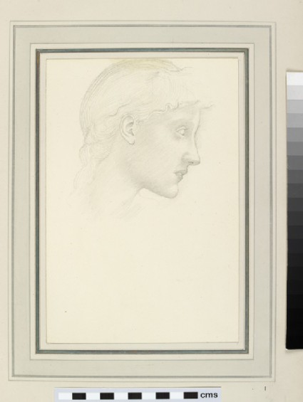 Portrait study of a female head in profile, probably for Fortune in 'The Wheel of Fortune'