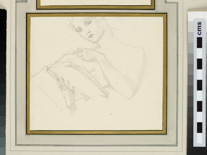 Study of the head and shoulders of a woman reading a book