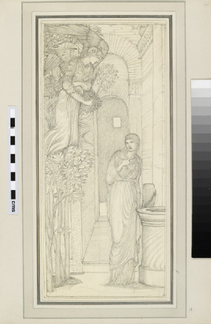 Study of a figure by a well approached by an Angel, probably an Annunciation