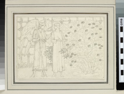 Study of Chaucer and an angel in a garden, possibly from the Kelmscott Chaucer