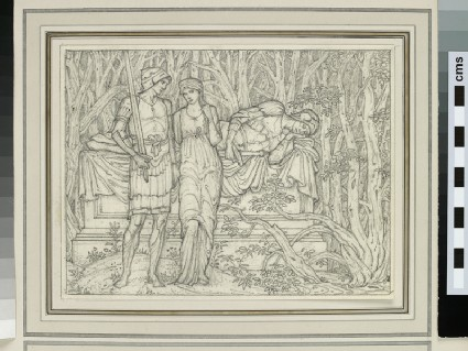 Study of three figures, one asleep, in a forest