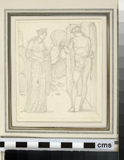 Sketch of Ariadne giving the ball of thread to Theseus