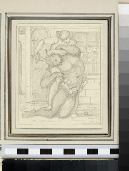 Sketch of Theseus killing the Minotaur