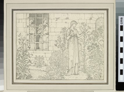 Study of a woman in a flower garden watched through a window by two young men (possibly for 'The Knyghtes Tale', Kelmscott Chaucer)
