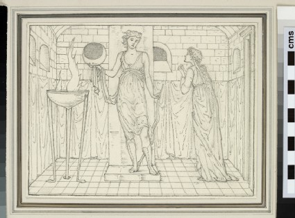 Study of a female figure imploring a priestess, probably Psyche and Venus