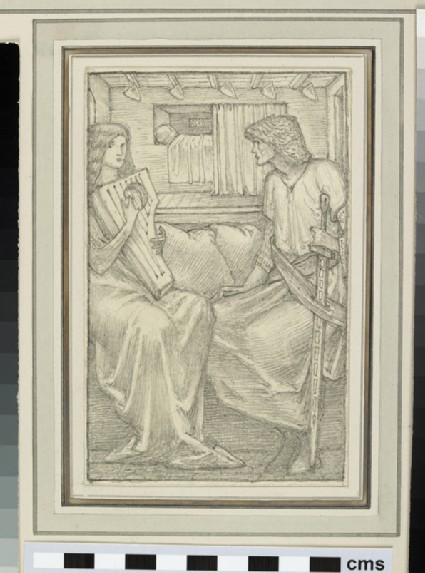 Study of a man and a woman, possibly Tristam and Yseult, seated in a bedroom chamber, the woman playing a harp