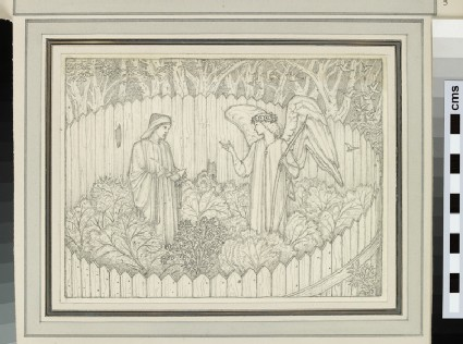 A male figure and an angel in a fenced garden (probably a study for 'A Compleint to his Lady', Kelmscott Chaucer)