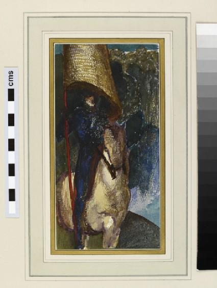 A figure on horseback beneath a golden banner