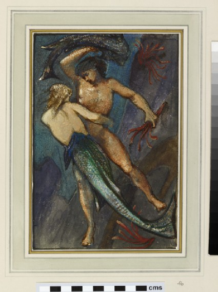 A male figure struggling with a mermaid (study for 'The Depths of the Sea')