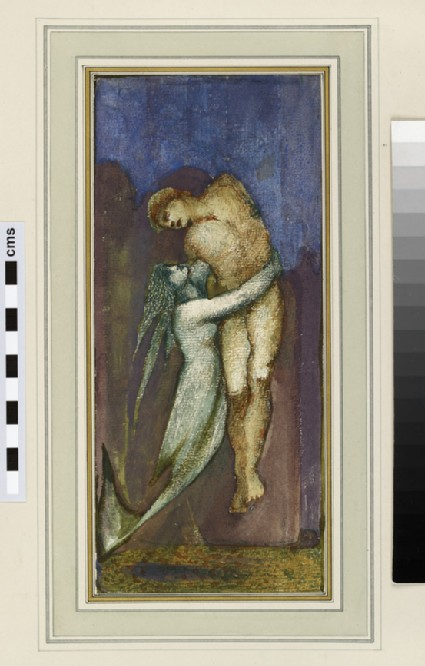 A mermaid holding a nude male figure (study for 'The Depths of the Sea')
