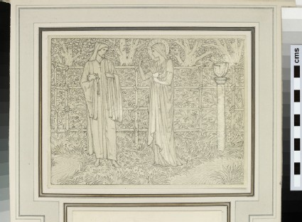Study of two figures in a fenced garden (probably for 'The Persouns Tale', Kelmscott Chaucer)