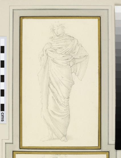 Study of a figure in a voluminous cloak