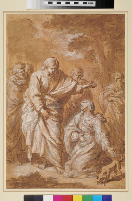 Possibly Christ healing the bleeding woman