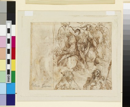 Recto: The Lamentation<br />Verso: Sketches of the dead Christ with two Angels and two Saints