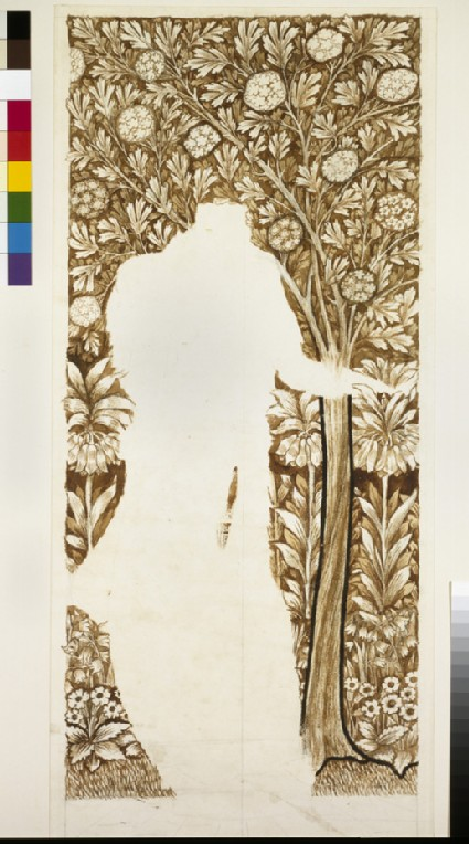 Design for the background to 'Spring', for the stained-glass windows of the 'Four Seasons' at Cragside House, Northumberland